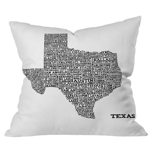 Black Texas Map Throw Pillow - Deny Designs® - image 1 of 1