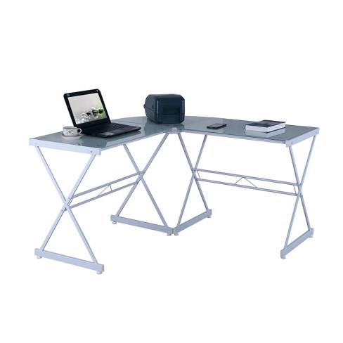 Wondrous L Shaped Glass Computer Desk White Techni Mobili Interior Design Ideas Clesiryabchikinfo