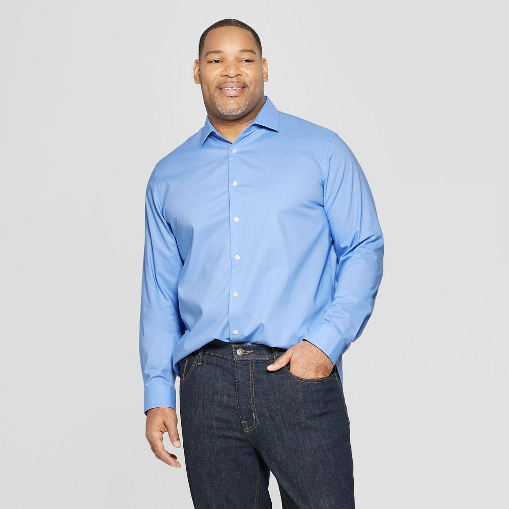 Men's Big & Tall Standard Fit Long Sleeve Button-Down Shirt - Goodfellow & Co Bicycle Blue 4XBT
