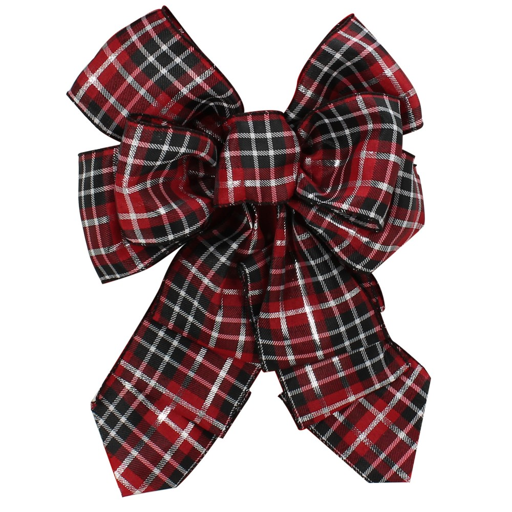 Red/Silver/Black Plaid Topper Bow 9 x 15 - Wondershop, Multi-Colored
