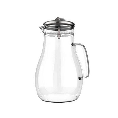 Hastings Home 64 oz. Glass Pitcher Carafe with Stainless Steel Filter Lid for Water, Coffee, Tea, Punch, Lemonade and More