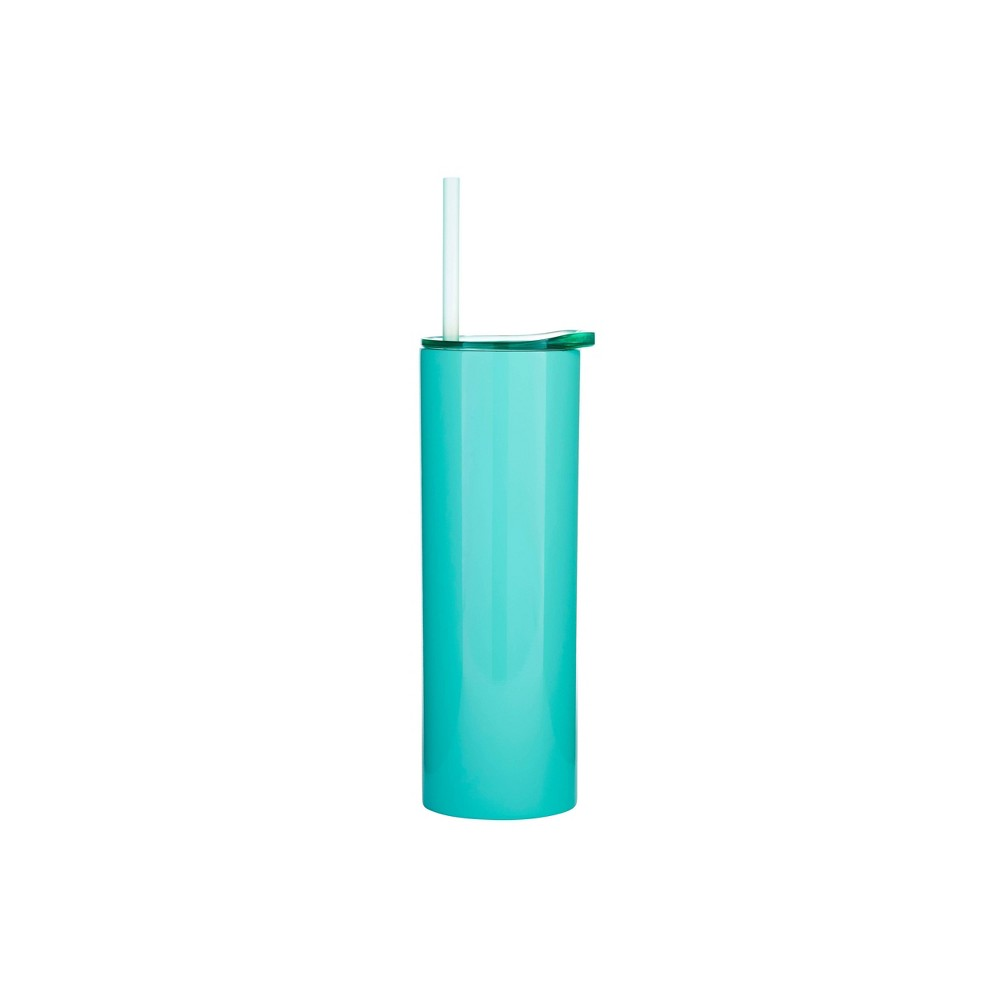 Image of Parker Lane 16oz Double Wall Stainless Bottle, Lid & Straw Solid Turquoise