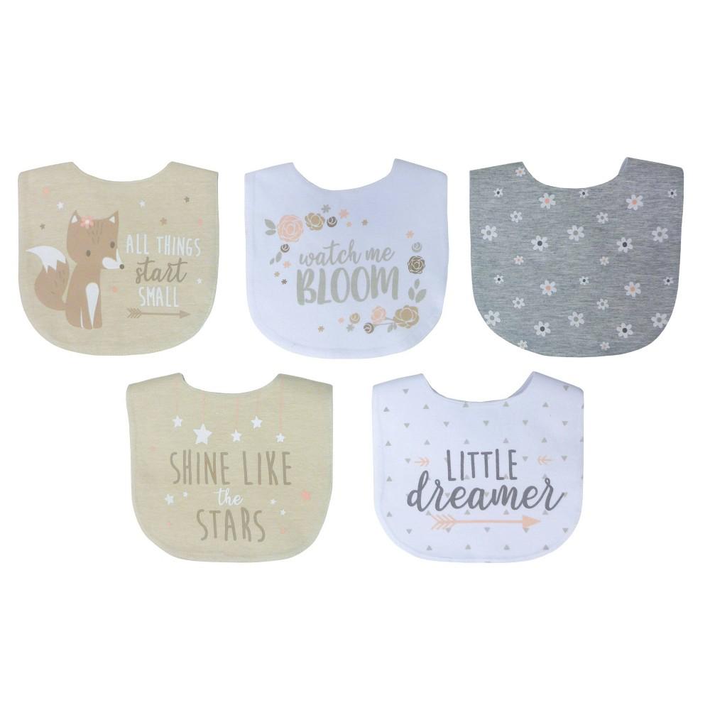 Neat Solutions Girl Aspirational Sayings Printed Water Resistant Lined Infant Bib Set 5pk