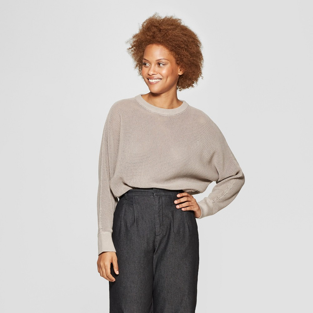 Women's Long Sleeve Crewneck Pullover Sweater - Prologue Taupe (Brown) L