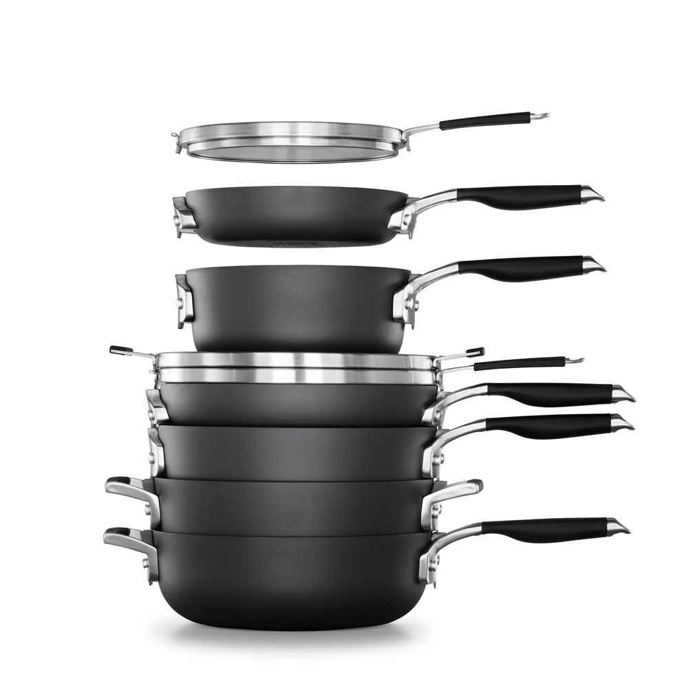 Image of Calphalon Select 9pc Space Saving Hard-Anodized Nonstick Cookware Set, Black