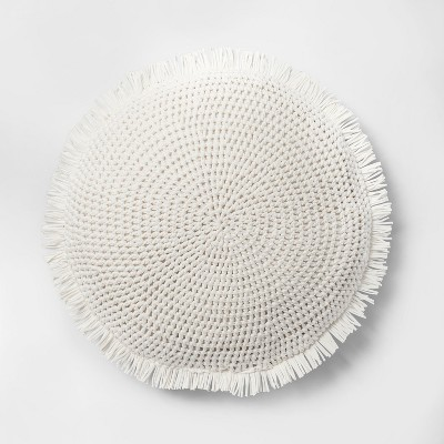 Knit With Fringe Oversize Round Throw Pillow White - Opalhouse™