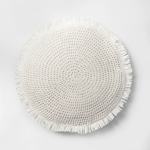 Round Knit With Fringe Oversized Throw Pillow - Opalhouse™ - image 1 of 4