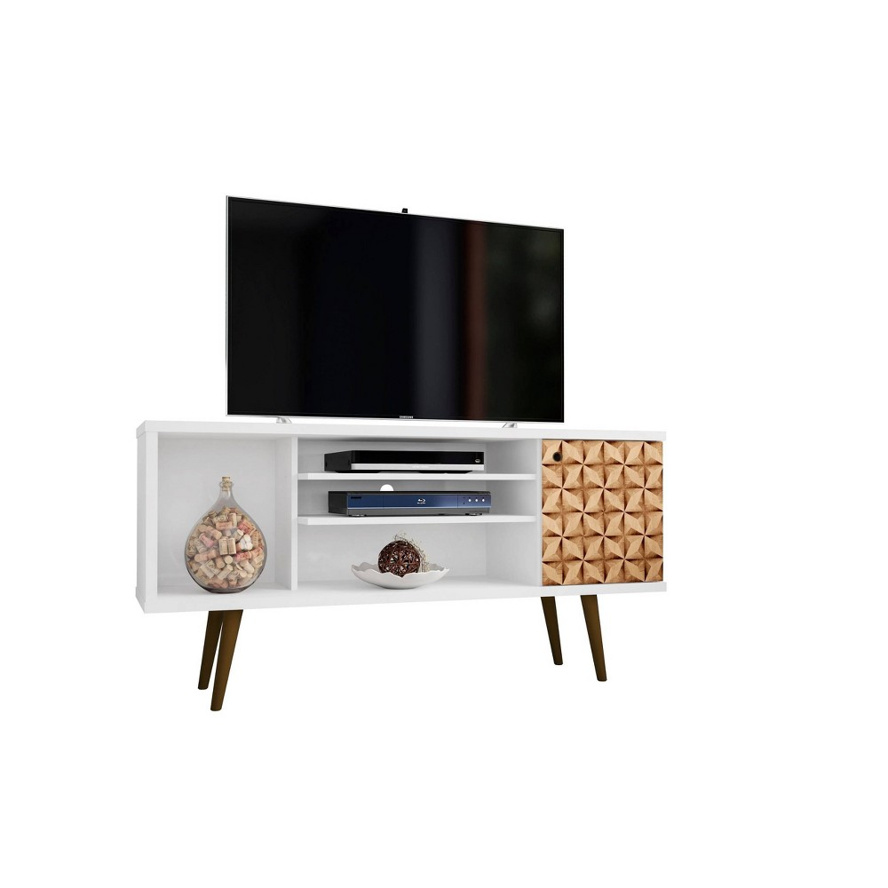 53.14 Liberty Mid Century Modern TV Stand with 4 Shelves and 1 Door 3D Prints White - Manhattan Comfort