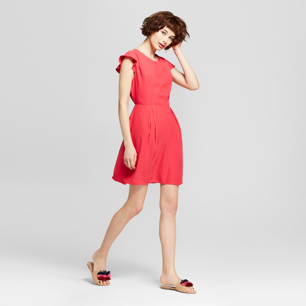 Women's Short Cap Sleeve Dress with Gathered Waist - Eclair Red M, Size: Small was $49.99 now $14.99 (70.0% off)