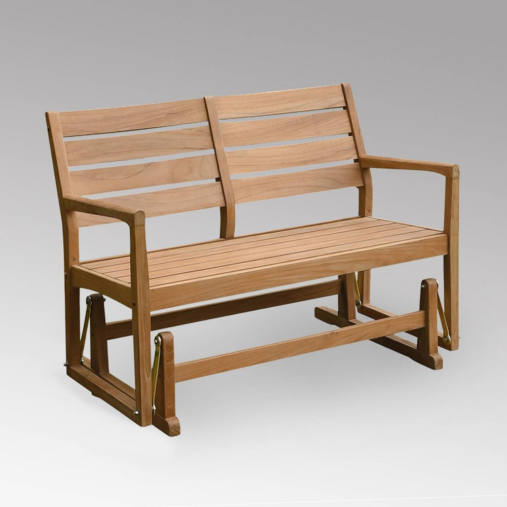 Andrea Outdoor Patio Glider Bench - Teak - Cambridge Casual, Brown