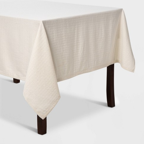 """84""""X60"""" Metallic Tablecloth Gesso White - Threshold™ - image 1 of 2"""
