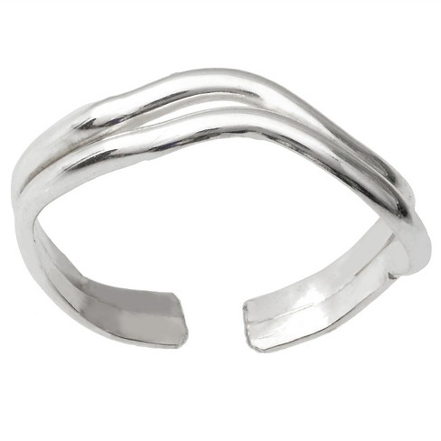 Women's Journee Collection Sterling Silver Chevron Adjustable Stacked Toe Ring - Silver - image 1 of 2