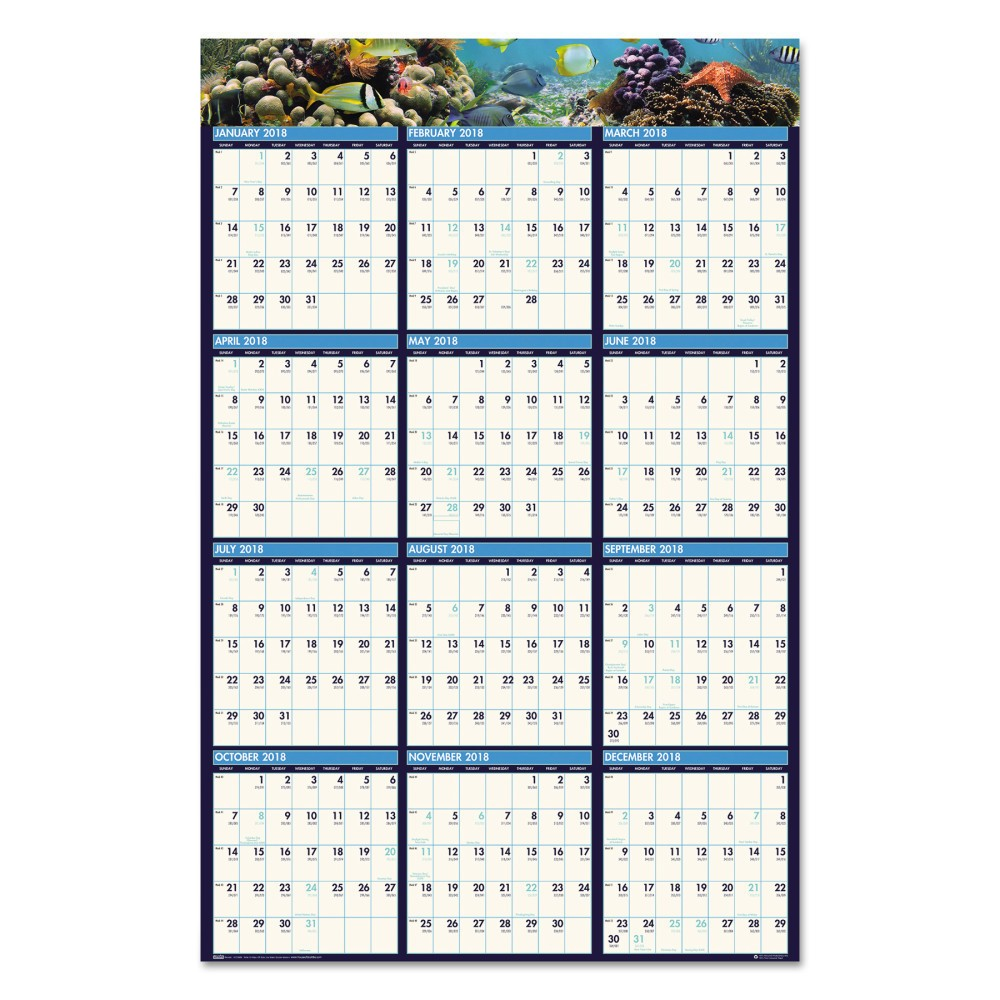 2018 Recycled Earthscapes Sea Life Scenes Reversible Wall Calendar 24 x 37 - House of Doolittle, Blue