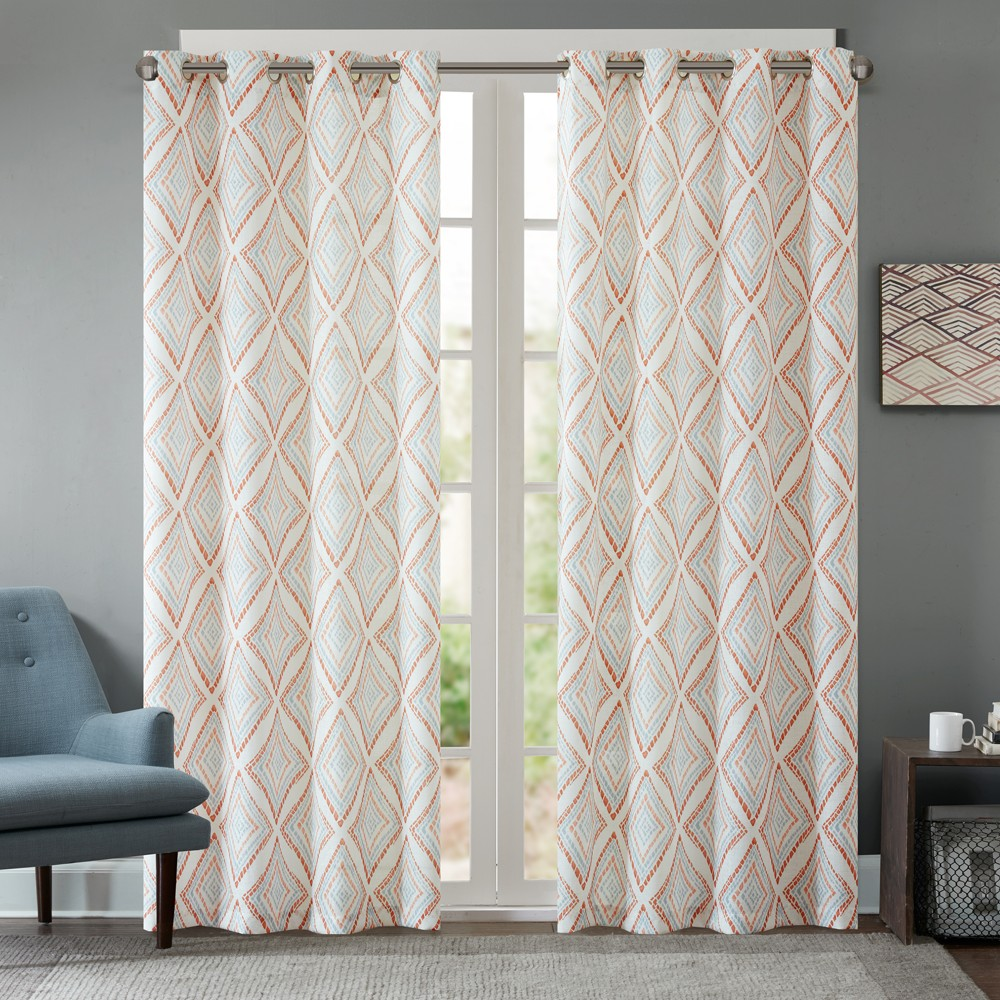 Bas Printed Etched Diamond Curtain Panel Spice 50