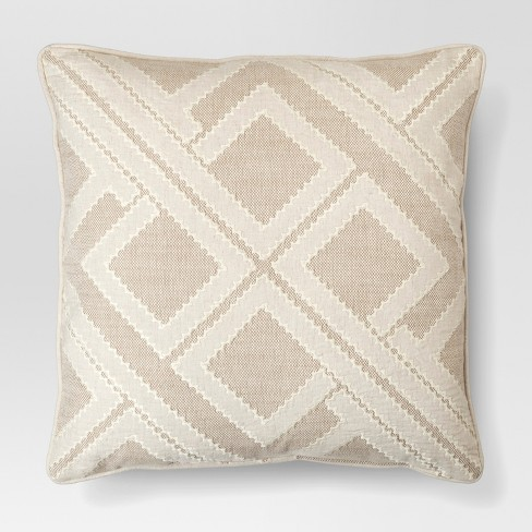 Beige Geo Patchwork Toss Throw Pillow Threshold