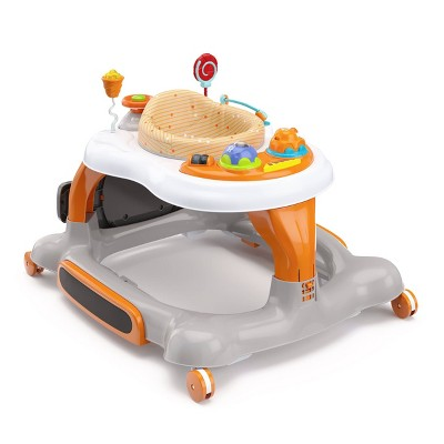 Storkcraft 3-in-1 Activity Walker and Rocker with Jumping Board and Feeding Tray - Orange
