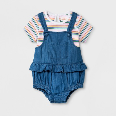 Baby Girls' Bodysuit and Bloomer Set - Cat & Jack™ Medium Denim Wash Newborn