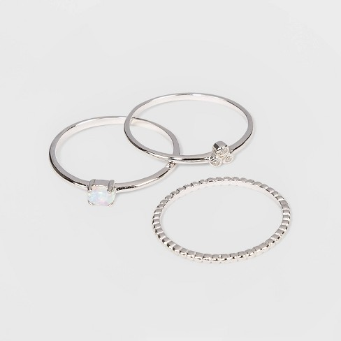 Sterling Silver with Opal and Cubic Zirconia Beaded Band Stacking Ring Set 3pc - A New Day™ - image 1 of 1