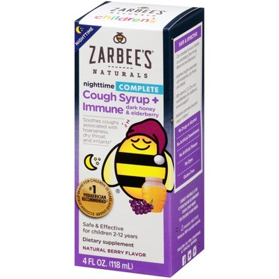 Zarbee's Naturals Children's Nighttime Cough Syrup & Immune Support Liquid - Natural Berry - 4 fl oz