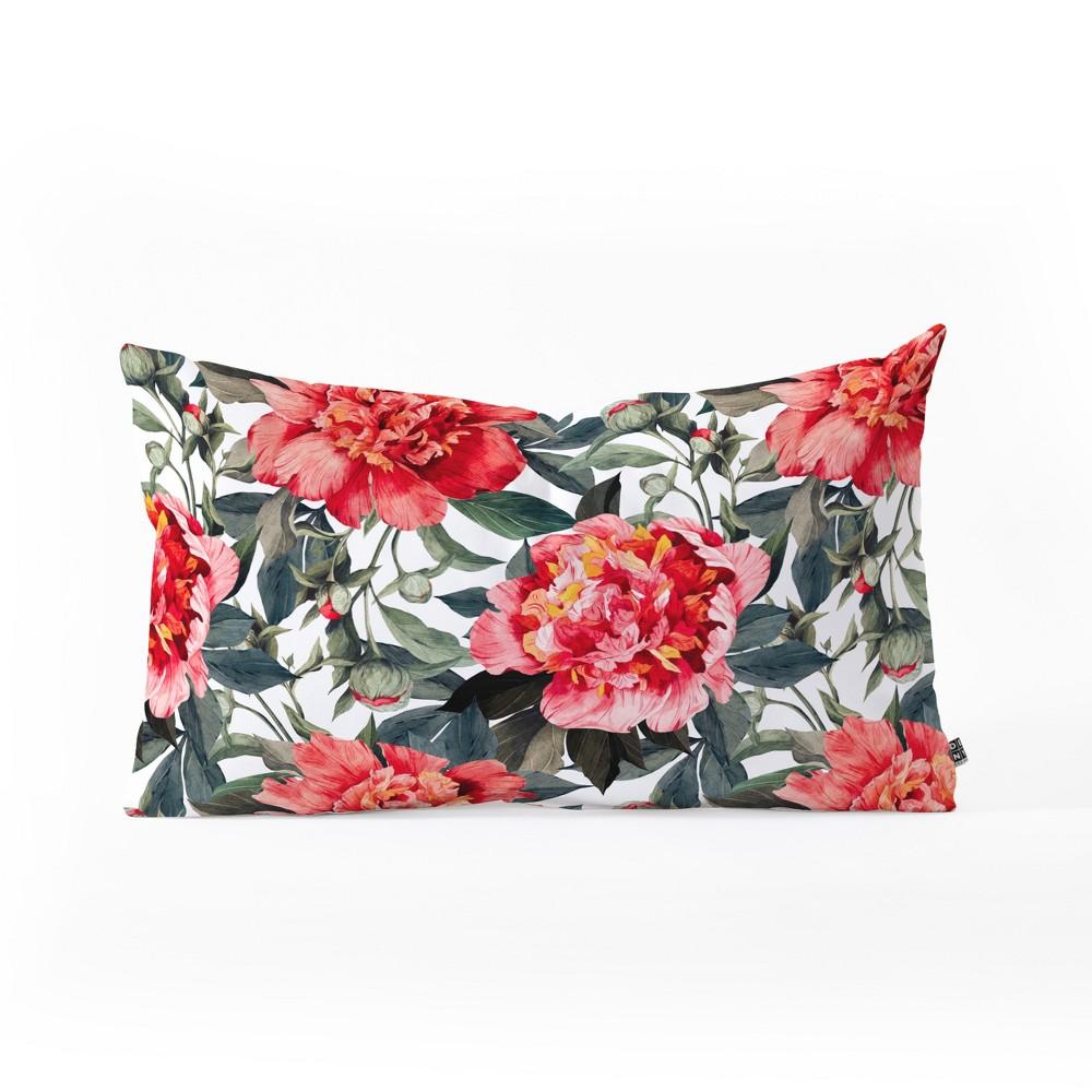 Marta Barragan Camarasa Big Flowers Lumbar Throw Pillow Red - Deny Designs