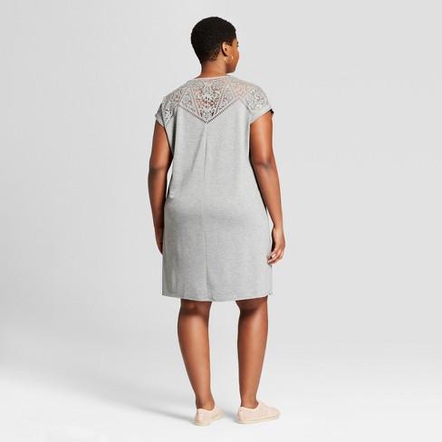 ef467ab8dee Women s Plus Size T-Shirt Dress - Ava   Viv™ Heather Gray 1X   Target