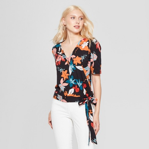 Women's Floral Print Knit Wrap Top - A New Day™ Black/Coral XS - image 1 of 3