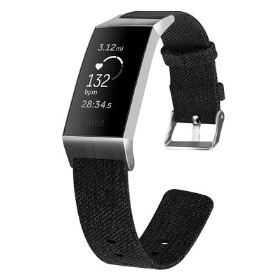 Insten Canvas Fabric Band for Fitbit Charge 4 & Charge 3 & Charge SE, Replacement Strap, Black