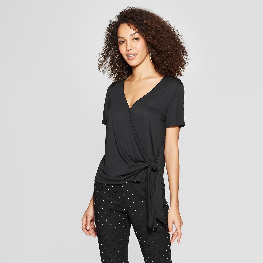Women's Short Sleeve V-Neck Knit Wrap Top - A New Day Black XL