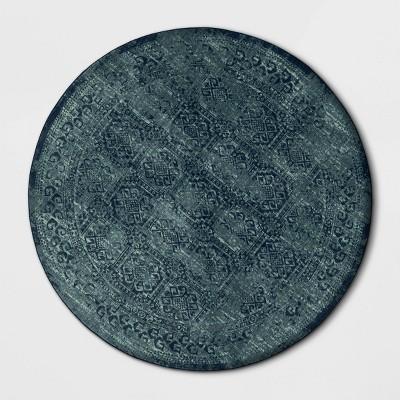 8' Round Overdyed Area Rug Turquoise - Threshold™