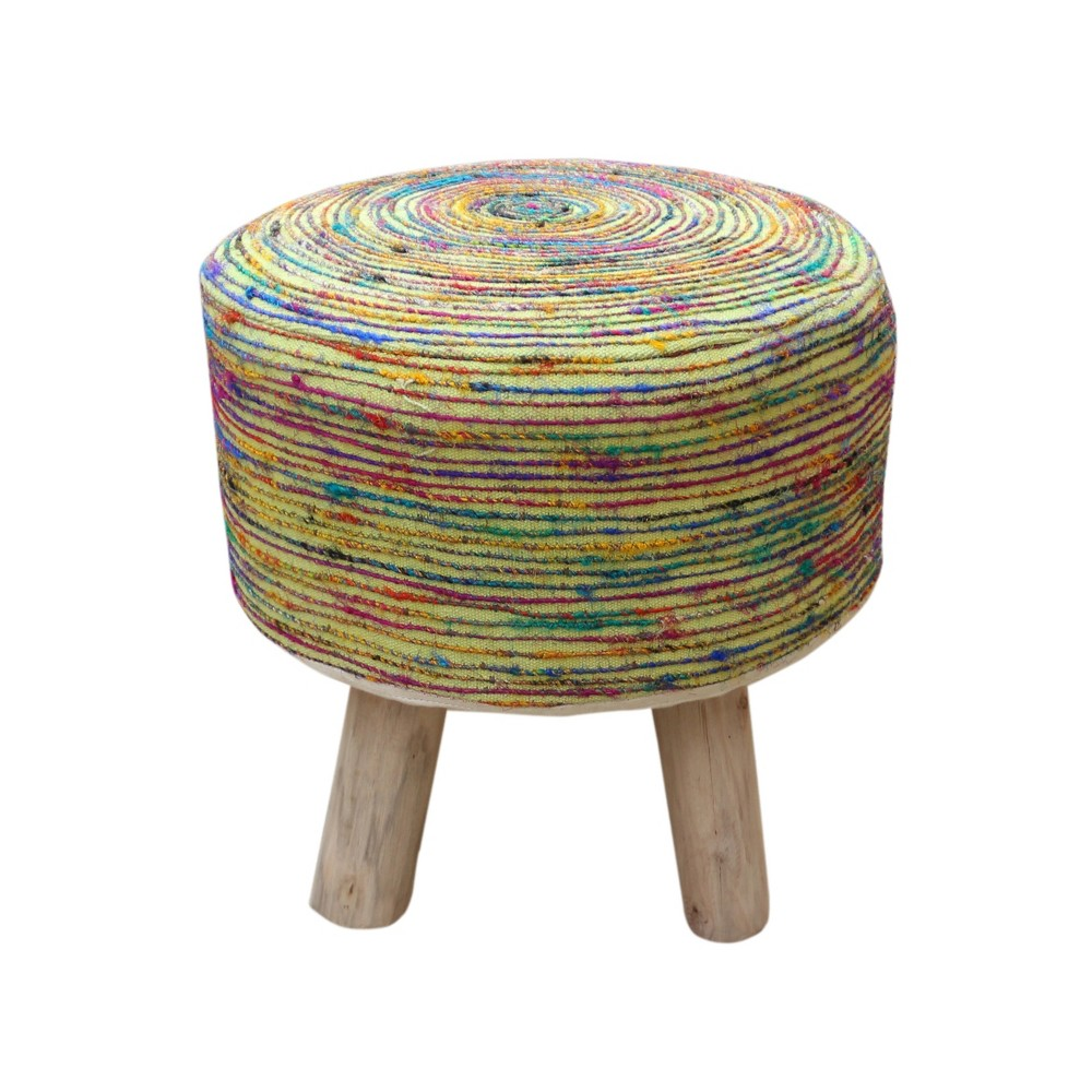 Cidney Silk Fabric Stool Lime (Green) - Christopher Knight Home
