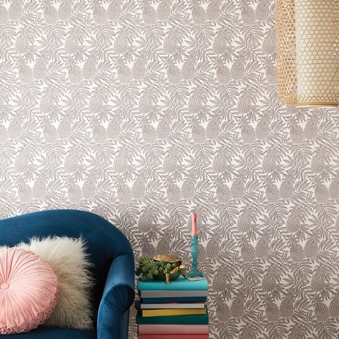 Pineapple Peel & Stick Removable Wallpaper Disco Brown/White - Opalhouse™ - image 1 of 5