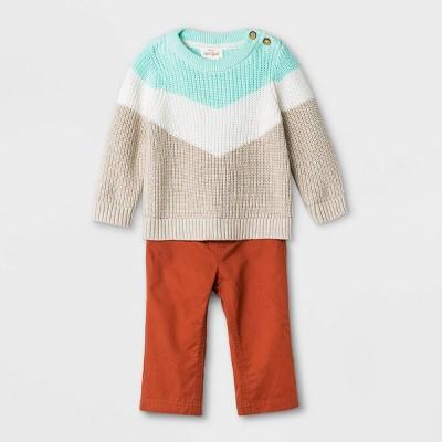 Baby Boys' Sweater Romper - Cat & Jack™ Heather Oatmeal Newborn