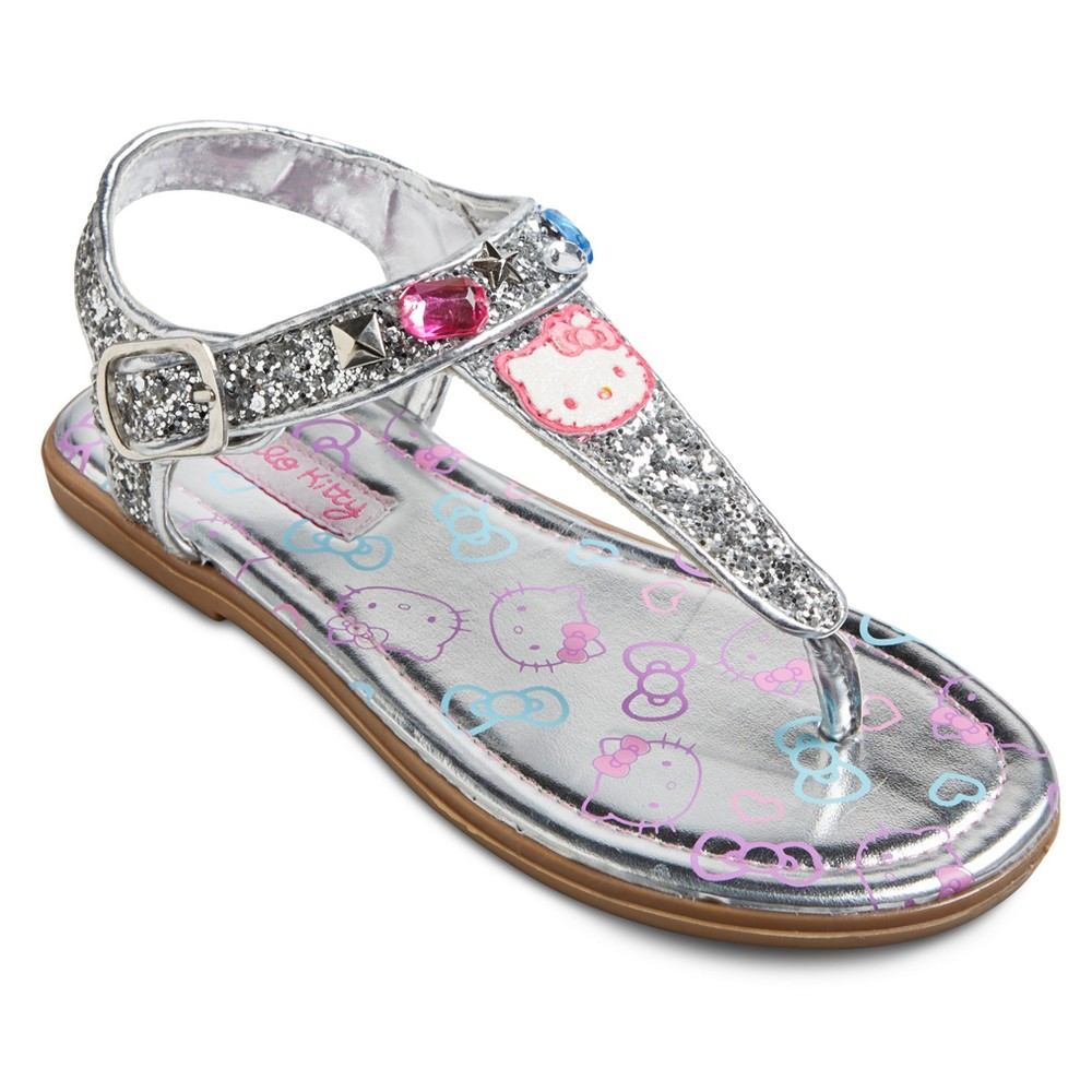 Toddler Girls' Hello Kitty Shimmer Thong Sandals - Silver/Gray 2, Silver Gray