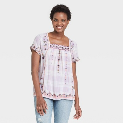 Women's Plaid Short Sleeve Embroidered Top - Knox Rose™ Ivory