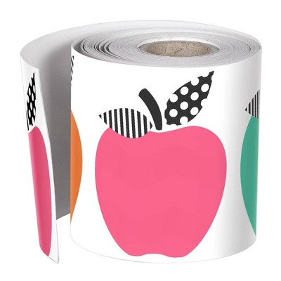 12pk 36ft Apples Classroom Borders Black White and Stylish Brights - Schoolgirl Style