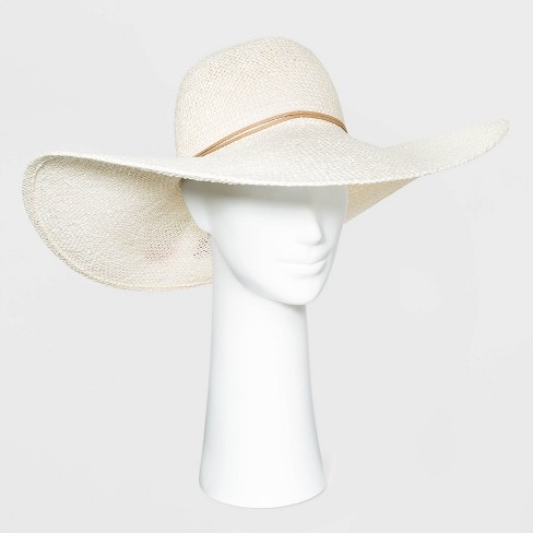 Women's Wide Brim Open Weave Straw Floppy Hat - A New Day™ - image 1 of 2