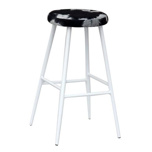 Stupendous Metal Saddle Barstool Cow Print Black Acessentials Dailytribune Chair Design For Home Dailytribuneorg