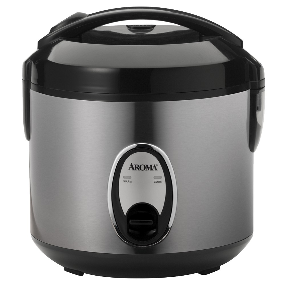 Aroma Cool Touch 4 Cup Rice Cooker, Silver Easily prepare up to 8 cups of cooked rice in the Aroma rice cooker. Use it to cook yellow rice, long grain rice or short grain rice. It's made of stainless steel and has a brushed finish. The exterior and handle are cool to the touch even when it's turned on. This Aroma Cool-Touch rice cooker starts cooking with the touch of a button. It automatically switches from cook to warm mode when the rice is perfectly cooked. The cooker has an inner pot with a non-stick coating that can be removed to make cleaning easy. It comes with a steam tray, serving spoon, measuring cup and an instruction manual. Its steam vent and water reservoir are ergonomically designed. This non-stick rice cooker has a convenient hinged opening. It's dishwasher safe. Size: 4 Cup.