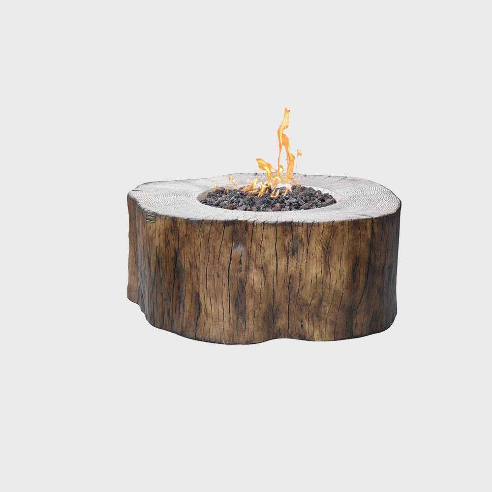 Image of Manchester Round Propane Fire Table - Wood - Elementi, Brown