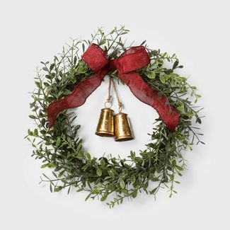 """20"""" Boxwood Artificial Christmas Wreath with Gold Bells - Wondershop™"""
