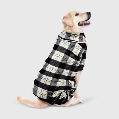 Holiday Plaid Flannel Dog Matching Family Pajamas - White - L - Wondershop™