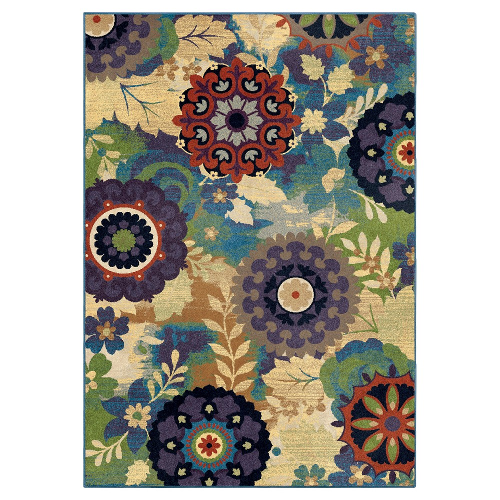 "Image of ""Aqua Abstract Woven Area Rug - (7'10""""x10'10"""") - Orian, Blue"""