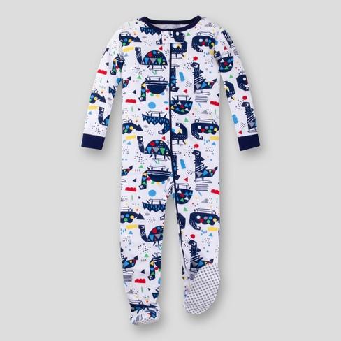 Lamaze Toddler Boys' Organic Cotton Dino Stretchy Snug Fit Footed Pajama - Blue - image 1 of 2