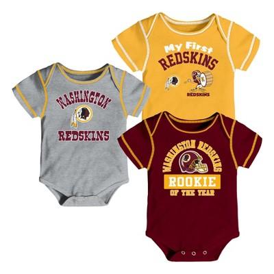 Washington Redskins Boys' Newest Fan 3pk Bodysuit Set 0-3 M