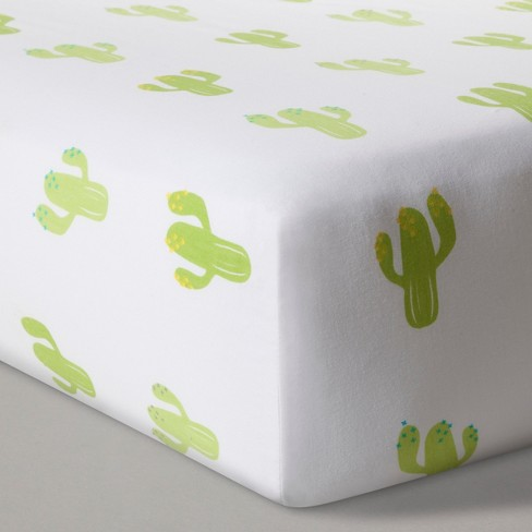 Fitted Crib Sheet Cactus - Cloud Island™ - White - image 1 of 2