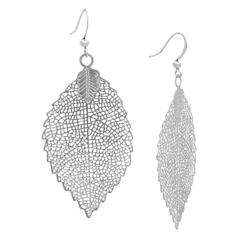 Leaf Drop Earring - Silver - image 1 of 2