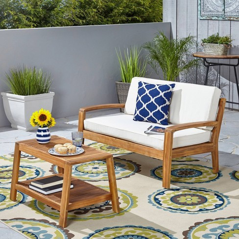 Grenada 2pc Acacia Wood Patio Chat Set - Christopher Knight Home - image 1 of 4