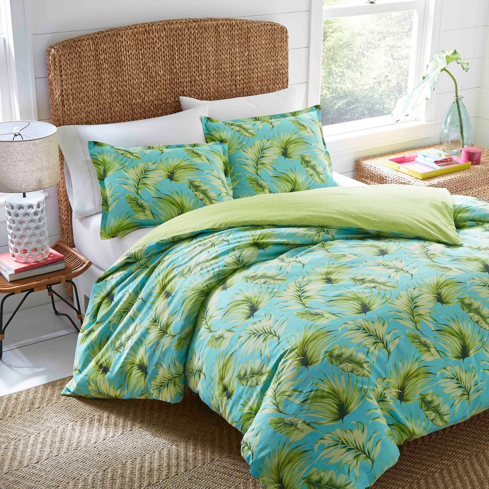 Image of Aqua Palm Cove Duvet Cover Set (Full/Queen) - Nine Palms, Blue