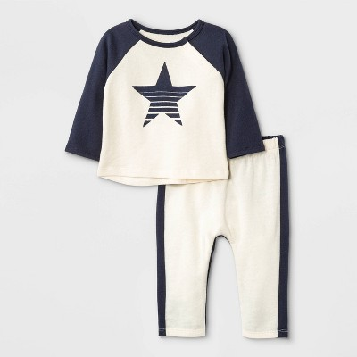 Grayson Mini Baby Boys' French Terry Colorblock Sweatshirt & Bottom Set - Off-White