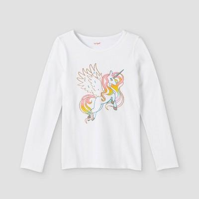 Girls' Adaptive Unicorn Long Sleeve Graphic T-Shirt - Cat & Jack™ White